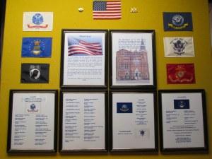 Veterans Honor Roll hanging in vestibule of St. John Kanty Church